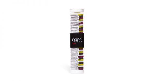 tube transparent rempli de 36 chocolats personnalises argent