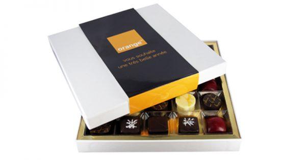 Coffret personnalisé de bonbons de chocolat