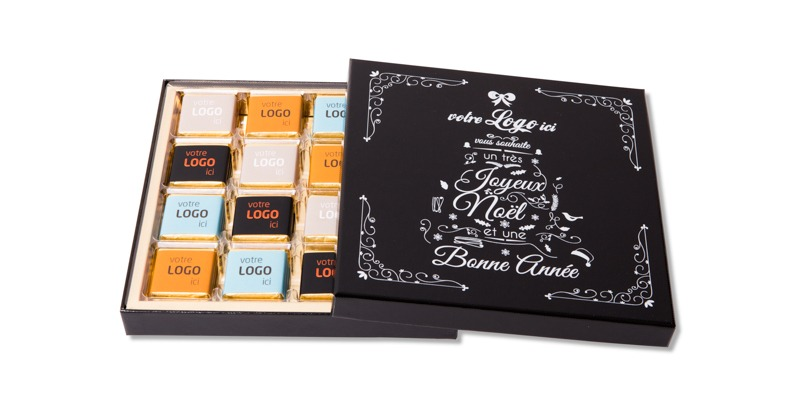 Coffret prestige de 32 chocolats personnalisés