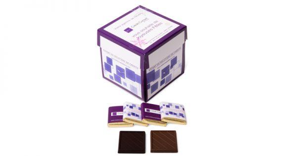 Boite tulipe de 40 chocolats personnalisés d'entreprise