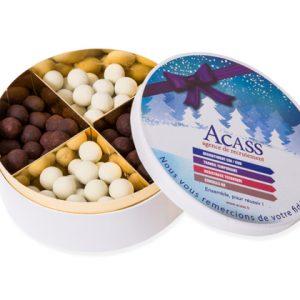Coffret rond personnalisé rempli de gourmandises - Chocolats personnalisés d'entreprise