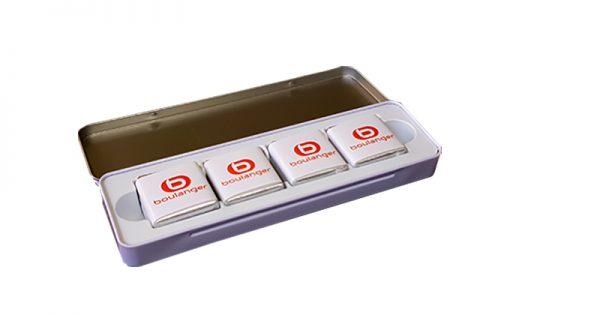 plumier métal personnalise 12 chocolats personnalises